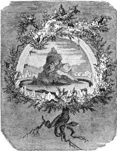 """Yggdrasil oli vanas Germaani mütoloogias üheksat maailma koos hoidev ilmapuu.  Pildil """"Saarepuu Yggdrasil"""", Friedrich Wilhelm Heine, 1886."""