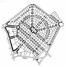 Elluviidud tiheasumi ruumimudeli näide: Tartu Tähtvere linnaosa planeeringu  ruumiline struktuur.