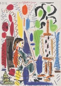 Pablo Picasso. Picasso ateljee. Värviline lito, 1956/1958.