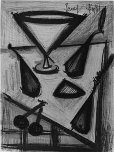 Bernard Buffet. Puuviljavaagen.  Värviline lito, 1954.