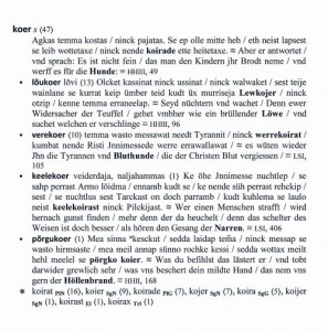 Sõnaartikkelkoer HeinrichStahli tekstide sõnastikus.