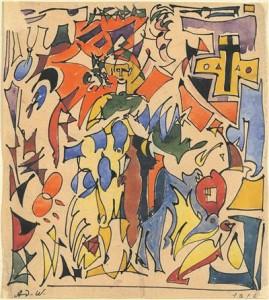 Ado Vabbe. Karneval. Kompositsioon figuuriga. Tušš, akvarell, paber, 1916.