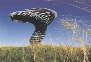 """""""Laulev helisev puu"""" (""""Singing Ringing Tree""""), heliskulptuur Inglismaal (Crown Point, Burnley). Arhitektuuribüroo Tonkin Liu, projekteeritud 2004. ja valminud  2006. aastal."""