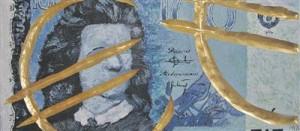 Mall Nukke. Sinine. Akrüülmaal, kuldamine, 2010.