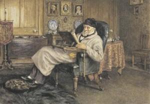 """Oma proosas ammutab Carlyle inglise kirjanduse paljudest traditsioonidest, alates nn kuningas Jamesi piiblitõlkest ja lõpetades XVIII sajandi lopsaka satiirilise traditsiooniga;  tema ainuke ilukirjanduslik teos """"Sartor resartus"""" on vaadeldav ühtaegu nii Laurence Sterne'i """"Tristram Shandy"""" jäljendusena kui ka palju hilisemate mõttevoolude eksistentsialismi ja postmodernismi ennetajana. Helen Allinghami maal aastast 1879. Šoti rahvusgalerii."""