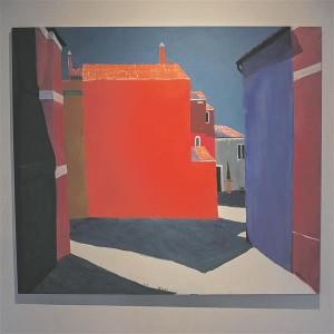 """Läti kunstiakadeemia rektori Aleksejs Naumovsi maal """"Burano"""" imeb vaataja pilgu endasse nagu steroididel Karl Pärsimäe soemüür."""