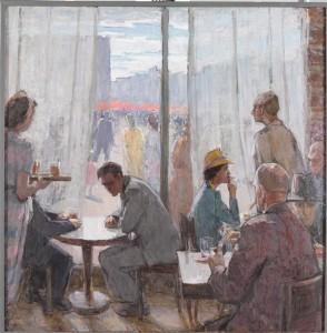 """Leili Muuga maalis """"Kohvikus"""" ehk """"Kahtlejad"""" (1956, õli, lõuend, EKMi kogu) väljendub sooteadlik hoiak."""