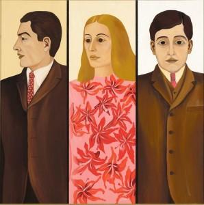 """Malle Leisi õlimaalil """"Noored inimesed"""" (1969, EKMi kogu) on naine koguni otsusekindlatest meestest piiratud."""