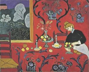 """Bruno Schulzi """"Kaneelipoodides"""" on kesksel kohal objektide ümbermängimine, et tuua välja miski muu. Meenub kirjaniku kaasaegse Henri Matisse'i fovistliku maali loogika: """"tegelikkuse"""" kujutamise asemel tuuakse välja kogemuslik meeleolu. Henri Matisse'i """"Harmoonia punases"""" (1908)."""