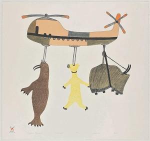"""Pudlo Pudlat (1916–1992). Pealesurutud migratsioon. 1986. Pudlo Pudlat on üks tuntumaid Kanada graafikuid. Jean-Loup Rousselot kohtus temaga 1987. aastal ja sai temalt selle pildi. Pudlat ütles: """"Kanada valitsus kannab meie kõigi eest hoolt. Nad tõid meid mere äärde Cape Dorseti, kus on paremad tingimused küttimiseks ja kalastamiseks, kus suvel on praamiliiklus ja kus lennukiga saadakse meid vajadusel haiglasse viia. Kuid valitsus ei toonud koduloomi koos meiega, nad peavad seda veel tegema, sest uues külas on liiga palju jahimehi, kuid küttimine on kehv tegevus."""""""
