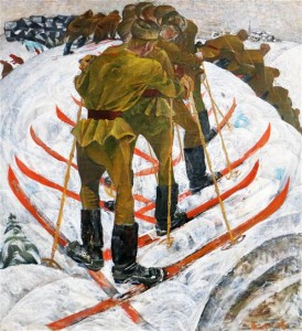 """Praeguse maailma foonil sunnib Nikolai Kormašovi maal """"Suusatamas"""" (1968) mõlgutama patsifistlikke mõtteid mõttetult raisatud inimeludest ning ainelistest ressurssidest ja imestamisväärselt vastutustundetust poliitikast."""