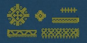 Spiraaltorukestest põimitud mustreid Lõhavere linnamäelt leitud vakast  (XIII sajandi algus).