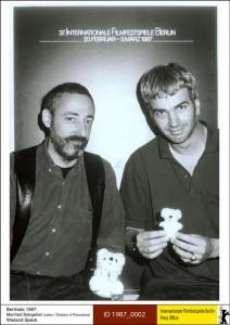 """""""Panorama"""" programmi toonane juht Manfred Salzgeber ja Wieland Speck  1987. aastal."""