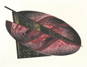 """Peaauhinna pälvis Marje Üksise """"Avanemine VIII"""" (kuivnõel, metsotinto, 2014). Kunstniku vormifantaasia on imetlusväärne, seejuures pole see pelgalt dekoratiivne, nagu  abstraktse kunsti puhul kipub küllalt sageli olema, vaid tulvil väljenduslikku pinget."""