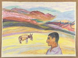 Evi Tihemets. Armeenia reis. 1962, värviline pliiats.