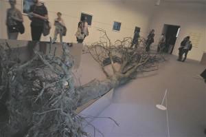 Robert Smithson, kes on kunstilukku läinud oma hiiglaslike kivispiraalidega, on näitusel esindatud uues kontekstis, looduslikust keskkonnast juurte ja okstega välja tiritud hiigelpuu kui eksponaadiga.