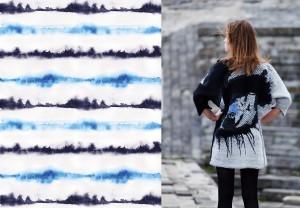 """Kairi Katmanni looming. Vasakul: Voodipesu disain Bradley tekstiilile """"Nagu merelaine"""" ja paremal: kollektsioon """"I can see you"""", kootud digitaalsel žakaarteljel."""