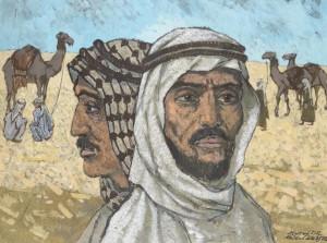 Endel Kõks [21. IV 1912 – 25. XI 1983] Beduiinid. Segatehnika, lõuend. 1972.