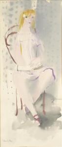 Silvia Leitu. Istuv neiu. Akvarell, 1950. aastate teine pool.