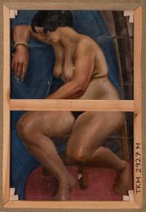 """Kristjan Tedre teose """"Õitsev Pariis"""" (1926–1928) tagaküljel olev kunstniku varasem Vassili Šuhhajevi eraakadeemia aegne töö. Foto: Tõnu Tamm"""