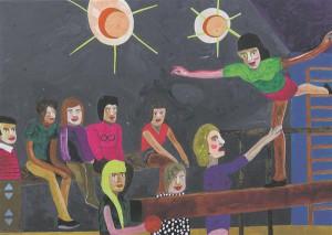 August Künnapu. 10. klassi õpilane Tanja Flippova tegeleb noorte võimlejatega. Akrüül lõuendil, 2013.