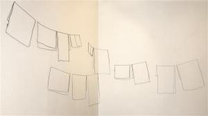 """Ulvi Haagenseni """"Pesunöör"""" pakub minimalistlikus ruumilisuses tasapinnaliste teostega harjunud vaatajasilmale vaheldust."""