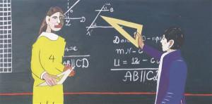August Künnapu. Maria Petrova ja ženja Ruhmanov geomeetriatunnis. Akrüül lõuendil, 2013.