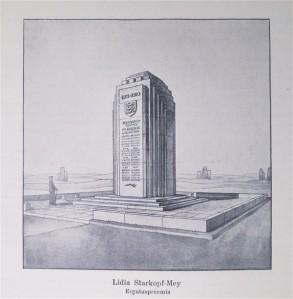"""Lydia Mei kavand (märgusõna """"Sõda ja rahu"""") pälvis kultuurkapitali võistlusel ergutuspreemia arhitektuuri alal. Preemiale vaatamata jäi mälestusmärk teostamata."""