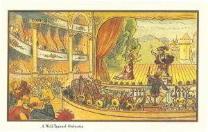 """Aastatel 1899 – 1910 avaldas prantsuse kunstnik Jean-Marc Côté postkaardid, millel kujutas Pariisi 2000. aastal (""""En l'an 2000"""").  Tema tulevikuteatris juhatab dirigent isemängivat orkestrit, korda loovad õhupolitsei ja -tuletõrje."""
