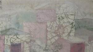 """Aleksander Krims-Radava maali """"Majad"""" võrdlemisi konservatiivsele lõppversioonile vastandub taiese esialgne variant: kunstniku pintsel on olnud vähem kammitsetud ja ebatäpsem, lisamõõtme pakub kergelt läbikumav esikülg."""