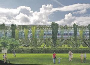 Novarc Group ja Architects R+L ühismeeskond tegi ettepaneku tõsta tunneli maapealne osa kõrgele elurajoonide ja teede kohale ning kujundada tunneli torud vertikaalseteks aedadeks, et mitte reostada keskkonda rongiteevaadete ja müraga.