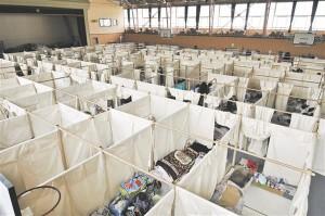 Shigeru Ban mõtles välja papptorudest ja kangast ruumi liigendamise süsteemi, et jaotada pärast Jaapani maavärinat majutuskoha suur ruum väiksemateks inimsõbralikumateks osadeks.