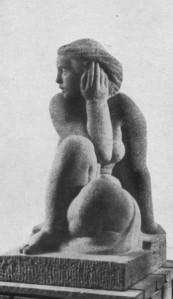 """Voldemar Vaga """"Üldise kunstiajaloo"""" eesti skulptuurile pühendatud pilditahvlit kaunistav Martin Saksa """"Ootaja"""" (1938) osteti eesti kunsti näituselt Budapestis 1939. aastal ja nüüd asub see teos Budapesti kunstimuuseumis."""