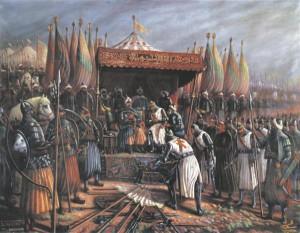 """Mõneti üllatav on, et Venemaa neobellum kattub täpsemal analüüsimisel suuresti püha sõja ehk ususõja põhimõtetega,  sest niisuguse sõja kõige olulisem eripära on sõjapidamise religioonistamine.  Süüria kunstniku Said Tahsine 1954. aasta maal """"Saladin ja Guy de Lusignan pärast Hattini lahingut 1187. aastal""""."""