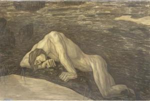 Kristjan Raud. Kalevipoja surm. Süsi, paber, 1935.