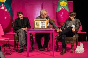 """Harri Rinne vestlemas Mait Vaigu ja Tommi Liimattaga teemal """"Rokkarist kirjanikuks""""."""