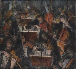 Leili Muuga. Orkester. Õli, lõuend, 1962.