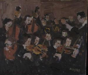 Endel Kõks. Orkester. Õli, vineer, 1941.