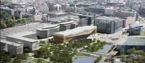 """Helsingi Linnaraamatukogu uus hoone valmib 2018 ning sellega tähistatakse Soome riigi saja aastast kestmist. Võidutöö """"Käännös"""" autorid on ALA Architects."""