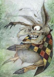 """Eesti lastekirjanduse keskuses on 28. novembrini avatud Lewis Carrolli raamatust  """"Alice Imedemaal"""" inspireeritud illustratsiooninäitus """"Kogu aeg on teeaeg"""" .  Stefano Bessoni. Märtsijänes."""