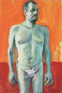 Jaan Toomik. Autoportree äralõigatud peenisega. Hommaaž van Goghile.  Akrüül, lõuend, 2015.