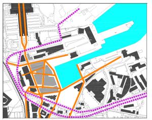 Kehtiva detailplaneeringu hoonestus seitsme hoonega (märgitud halliga). Jalgteede võrgustik (oranž) on juhuslik, suunatud Sadamarketi ette. Raskeliiklus (lilla punktiir) lõikab sadamaala ära nii vanalinnast kui ka Rotermanni kvartalist.