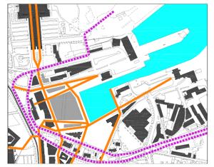 Projekteerimistingimustega lubatud lahenduses jaguneb hoonestus kolmeks kvartaliks, millest keskmine on keskkonda ignoreeriv hoonemassiiv.