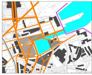 Detailplaneeringu põhimõtet jälgiv võimalik lahendus seitsme hoonega. Tekib vaheldus- ja nüansirikas linnaruum. Jalakäijate liikumine arvestab ümbritsevaid aktsente. Raskeliiklus on juhitud südalinnast võimalikult kaugele Reidi teele,  et südalinna võimalikult vähe häirida.