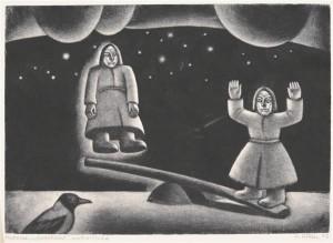 """Kaljo Põllu """"Kahekesi"""" sarjast """"Kodalased"""" (1973)."""