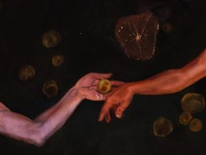 """Nadežda Tšernobai viimane altar kannab viiteid nii loomisele kui ka pattulangemisele (ja koos sellega surelikkusele). Kunstniku lavastus oli inspireeritud Michelangelo Aadama loomise stseenist Sixtuse kabeli laemaalingul. """"Transtsendentsi altari"""" fragment."""