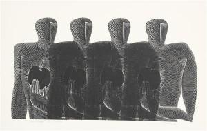 Jüri Arrak. Poisid õunaga. Linoollõige, 1967.