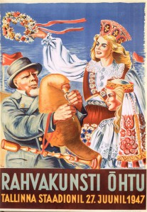 Siima Škop. Rahvakunsti õhtu.  Litograafia, 1947.