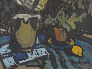 Alfred Kongo. Natüürmort sidruniga. Guašš, tempera, papp, 1964.