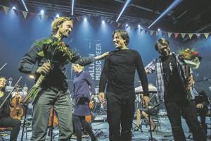 Gabriel Prokofiev, Kristjan Järvi ja DJ Switch pärast TMW õnnestunud avakontserti.